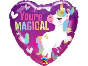 """18"""" fóliový balónek srdce - Jsi kouzelný Jednorožec"""