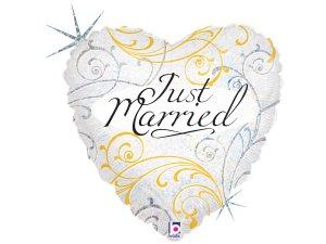 "18""/46cm srdce - Just Married ornamenty"
