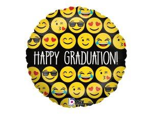 "18""/46cm kruh - Emoji Graduation"