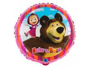 """Fóliový balónek kruh - Máša a medvěd 46cm/18"""""""