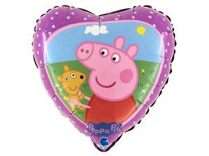 "Fóliový balónek srdce - Peppa Pig a Teddy 46cm/18"""