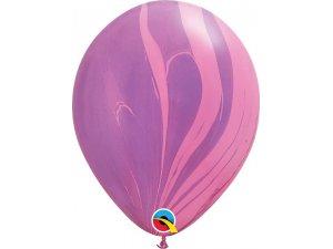 """11"""" Balónek Qualatex mramor fialovo-růžový 1ks"""