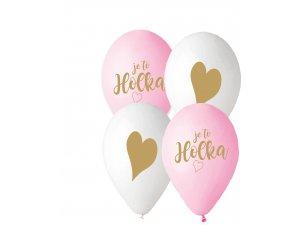 Balónek pastel 30 cm JE TO HOLKA potisk (100ks/bal)