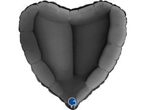 Balónek fóliové srdce černé 46 cm SP