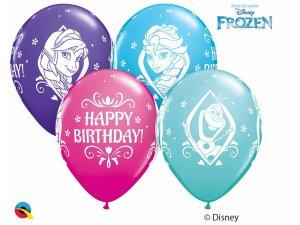 """Balónek Qualatex 11"""" potisk Ledové království Disney BDay (25ks v balení)"""