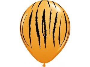 "Balónek Qualatex 11"" potisk tygr oranžový (25ks v balení)"