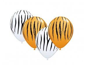 """Balónek Qualatex 11"""" potisk zebra&tygr oranžová&bílá (50ks v balení)"""