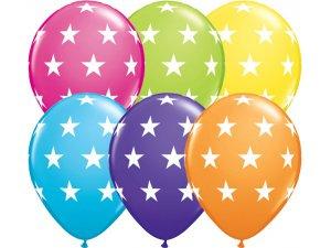 """Balónek Qualatex 11"""" potisk hvězdy tropický mix (25ks v balení)"""