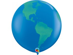3'  Balón Qualatex TISK globus modrý