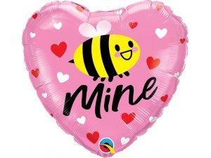 "18"" fóliový balónek srdce - Bee mine 46cm"
