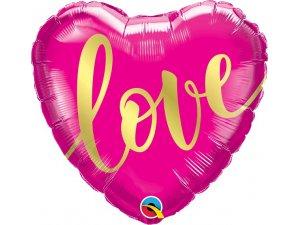 """18"""" fóliový balónek srdce - Růžový, nápis Love 46cm"""