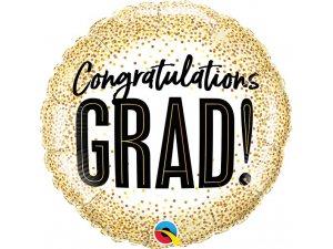 "18"" fóliový balónek kruh - Gratulace zlaté konfety 46cm"