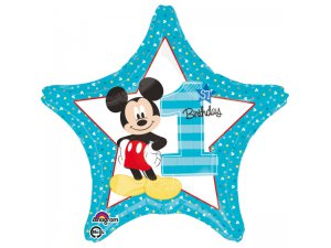 Fóliový balónek hvězda - 1. narozeniny Mickey 43cm