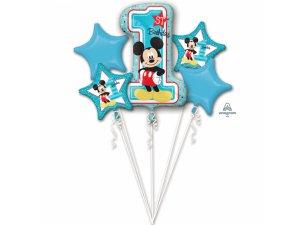Buket balónků - Mickey má 1.narozeniny 5 ks