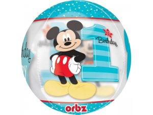 Fóliová koule -  Mickeyho 1. narozeniny 38 x 40cm