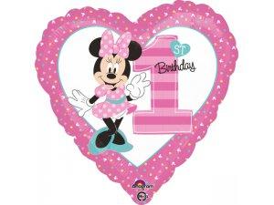 Fóliový balónek srdce - Minnie 1. narozeniny 43cm