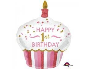 Fóliový balónek cupcake - 1.narozeniny růžové 73 x 91cm