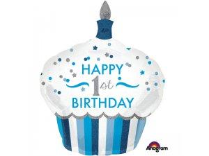 Fóliový balónek cupcake - 1.narozeniny modrý 73 x 91cm