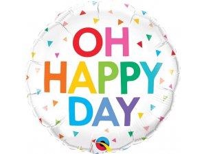"""18"""" balónek fóliový kulatý - duhové OH HAPPY DAY 46cm"""