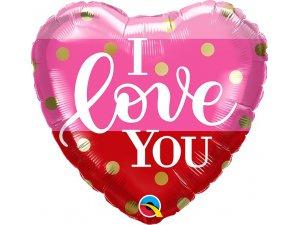 "18"" fóliový balónek srdce - I LOVE YOU 46cm"