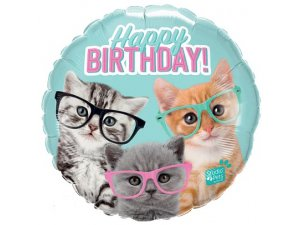 "18"" balónek fóliový kulatý - Koťata s brýlemi HB 46cm"