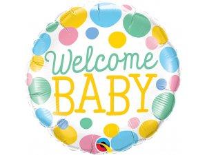 """18"""" fóliový balónek kruh - Vítej miminko 46cm"""