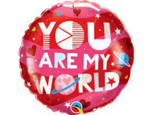 """18"""" balónek fóliový kulatý - Jsi můj svět 46cm"""