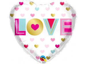 """18"""" balónek fóliový srdce - Metalová srdce 46cm"""