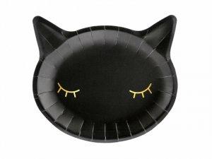 Papírové talíře - Čermá kočka 22x20cm, 6ks