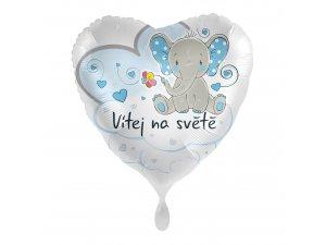 Fóliový balónek Vítej na světě modrý CZ 43 cm