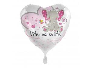 Fóliový balónek Vítej na světě růžový CZ 43 cm