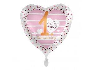 Fóliový balónek První narozeniny holčička CZ 43 cm