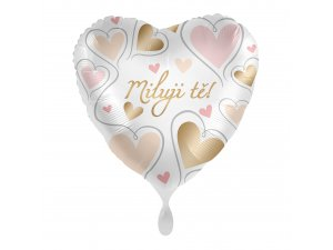 Fóliový balónek Miluji Tě CZ Srdce zlatá a růžová 43 cm