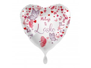 Fóliový balónek Miluji Tě lásko CZ Srdce motýli 43 cm