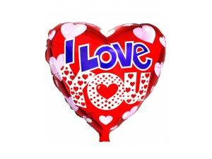 Fóliový balónek srdce - Srdíčka ILY 46 cm