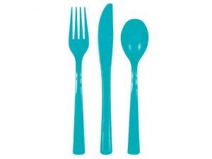 Plastové příbory karibská modř, 18ks